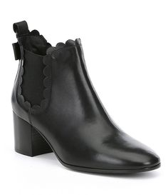 kate spade new york Garden Leather Scalloped Block Heel Booties
