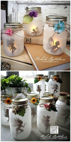 These Gorgeous Fairy Jar Lanterns Are Magical ia Pixie Hill You w. - feijoa - These Gorgeous Fairy Jar Lanterns Are Magical ia Pixie Hill You will love the orange - Pot Mason Diy, Mason Jar Crafts, Bottle Crafts, Pickle Jar Crafts, Diy Crafts Jars, Mason Jar Garden, Mason Jar Christmas Crafts, Crafts With Glass Jars, Mason Jar Projects