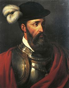 Portrait of Francisco Pizarro (1476 - 1541) a Spanish conquistador who led an expedition that caused the fall of the Inca Empire. On his expedition he captured and killed the Incan emperor Atahualpa and claimed the fallen empire for the Spanish. / Eliminated Peru and the Incan civilization.