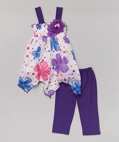 Look what I found on #zulily! Purple Floral Handkerchief Tunic & Leggings - Toddler & Girls by Littoe Potatoes #zulilyfinds