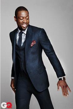 Blue, three-piece, peak lapel... What a great suit! Don't think my fiancé would let me wear a plaid shirt though lol