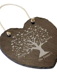 Personalised hanging heart slate - Family tree Engraving Ideas, Laser Engraving, Christmas Tree Decorations, Christmas Ornaments, Holiday Decor, Glass Trophies, Molton Brown, Curved Glass, Hanging Hearts