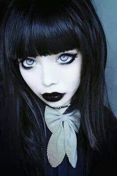 Gothic doll faced girl