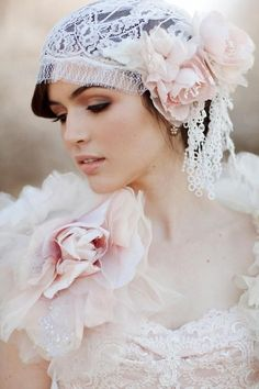 Once Upon A Time..... | The Princess Parlour Bridal fashion and Glamour | Pretty brunette bride in white wedding gown and head vial | Dazzle her with beauty of 1920s vintage style wedding gown fashion and the quiet drama of bridal diamonds jewelry gift of love | #thejewelryhut