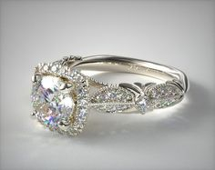 Vintage Inspired Setting in Platinum - Ring price excludes center diamond.