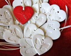 White Heart Favor Gift with Butterfly, Crystals for Valentines wedding ornament on a satin ribbon White Heart Favor Gift with Butterfly, Swarovski Crystals for wedding, or Christmas, Holiday ornament on a satin ribbon Polymer Clay Crafts, Diy Clay, Polymer Clay Jewelry, Clay Christmas Decorations, Christmas Crafts, Christmas Holiday, White Christmas, Christmas Ornament, Paper Clay