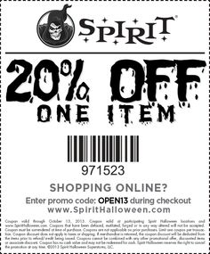 Promo Code For Spirit Halloween buy any item and get 25 off your second item 25 spirit halloween coupon Spirit Halloween Coupon 20 Percent Off Spirit Halloween Coupon Codes 20 Off W November 2014 These Spirit Halloween Promo Codes Have Expired But May