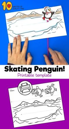 Skating Penguin Craft B&W printable [avia_codeblock_placeholder uid= Winter Crafts For Toddlers, Crafts For Teens To Make, Winter Kids, Toddler Crafts, Crafts To Do, Paper Crafts, Craft Activities, Preschool Crafts, Penguin Coloring Pages