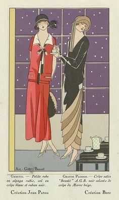 Art - Goût - Beauté, Feuillets de l' élégance féminine, Janvier 1924, No. 41, 4e Année, p. 12: Création Jean Patou / Création Beer, Anonymous, Jean Patou, Gustav Beer, 1924