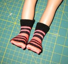 Want to make socks for your doll? My latest blog includes photos and instructions sent in by Peggy, who loves using ladies socks to create doll clothes. I also share some tips that may make her instructions even easier! Plus I tell you how to make some socks for your doll using suitable fabric from your stash.