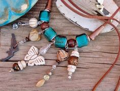 COWGIRL JUNK GYPSY NECKLACE Ivory Turquoise Butterfly Clear & Brown Faceted Crystals Rhinestones Brown Jasper Hearts Rustic Metal Pistol Cop...