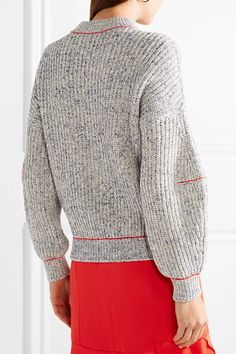 Victoria Beckham - Embroidered Cotton And Wool-blend Sweater - Blue