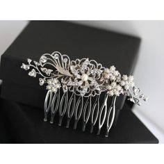 Bridal Hair Comb White Ivory Pearl Crystal Flower Hair clip Vintage... ($79) ❤ liked on Polyvore