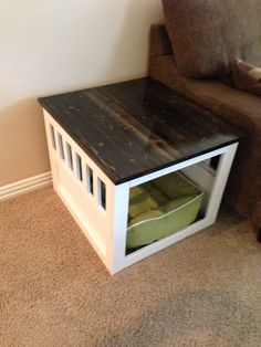 large wooden dog crate end table | do it yourself home projects