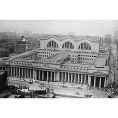 View From Gimbel's Department Store Showing Penn Station, New York City, 1920 Vintage New York, New York City, Old Train Station, Pennsylvania Railroad, Chicago, Model Trains, Aerial View, Historical Photos, Cities