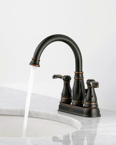 The oil rubbed bronze look of this stylish sink will add depth and beauty to any bathroom makeover!