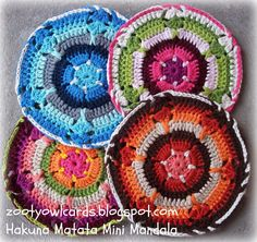 Crochet mandala wheel to hang.  Written in US terms. . There's a UK conversion chart at the beginning.  Excellent pictures as well.  12/14  js