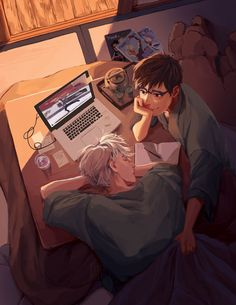 For a moment I thought they are Drarry watching Yuri on ice. But then I realized they are Yuri and victor themselves :)) Drarry Fanart, Katsuki Yuri, Yuuri Katsuki, Harry Potter Ships, Harry Potter Fan Art, Yuri On Ice, Spideypool, Yuri X Victor, Desenhos Harry Potter