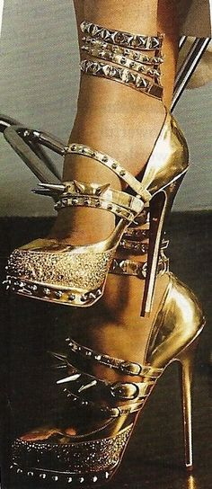 Christian Louboutin Catwomen all gold glamorous rocking spiked Killer Heels #CL #Shoes #Louboutins