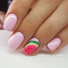 Want to know how to do gel nails at home? Learn the fundamentals with our DIY tutorial that will guide you step by step to professional salon quality nails. Watermelon Nail Designs, Fruit Nail Designs, Cute Summer Nail Designs, Watermelon Nails, Short Nail Designs, Fancy Nails, Cute Nails, My Nails, Summer Acrylic Nails