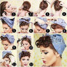 tutoriel de coiffure pin up avec bandana et frange bouclée