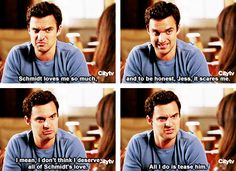 I feel like Nick is generally unsure on how to handle love. Jake Johnson as Nick Miller in New Girl. New Girl Tv Show, Girls Show, New Girl Quotes, Tv Quotes, New Girl Funny, New Girl Schmidt, Snl News, Nick And Jess, Collateral Beauty