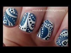 Blue & White Water Marble with Flowers | AmazingNailArt.org
