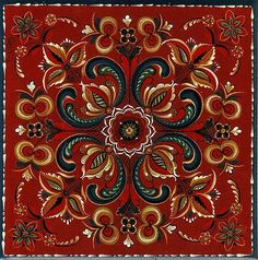 Rosemaling tile. I would love to make my kitchen backsplash with these!