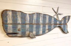 Whale Sign Art Striped Thick Vintage Wood Beach House Decor by CastawaysHall Ready to ship. This big whale is one of a kind because he is made with