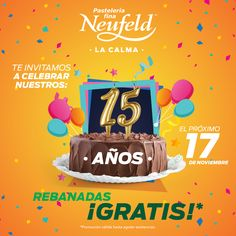 ¡Gracias a ti cumplimos 15 años!  Ven por tu rebanada GRATIS para festejar :)