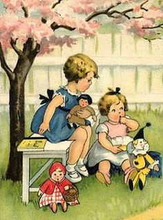 Sweet vintage illustration of two little girls with their dolls.
