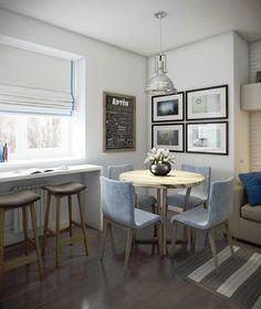 дизайн кухни-гостиной 14,4 кв. м.