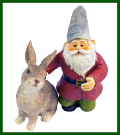 Merlin (the Santa Look Alike) Miniature Gnome and His Best Friend Hare Rabbit (A Two Piece Set) by Twig and Flower -- Don't get left behind, see this great  product : home diy yard