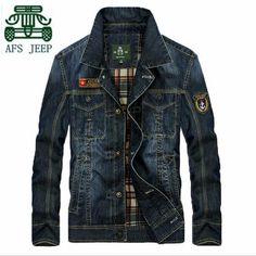 AFS JEEP Hot Sale Original Brand Men's Denim Jacket,New Designer Real Man's Classical Design Motorcycle Denim Cotton Outwear