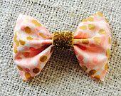 Metallics : Baby/Girls Peach and Gold Bow Headband