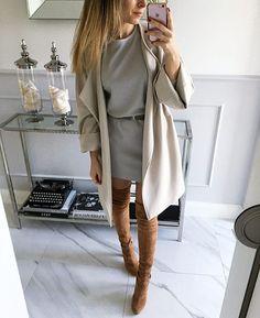 #szara, dzianinowa sukienka Mint Label #dress #ootd #coat #mintlabel #beige #inspiration #neutrals