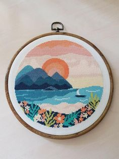 """embroidery floss Stitched version of my cross stitch pattern """"Tropical sunset"""", stitched on 18 count Aida Cross Stitch Art, Simple Cross Stitch, Cross Stitching, Cross Stitch Embroidery, Embroidery Patterns, Hand Embroidery, Modern Cross Stitch Patterns, Cross Stitch Designs, Arte Shop"""