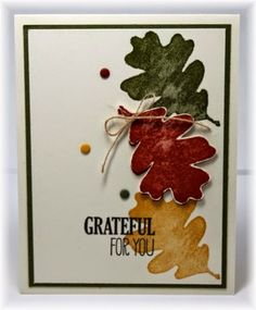 CAS autumn leaves grateful card by Becky