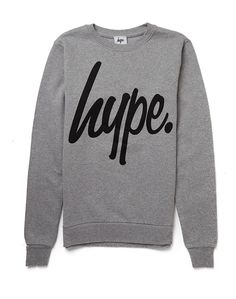 Hype. Grey Crew Neck Jumper with Black Script | Shop Men's Clothing at The Idle Man
