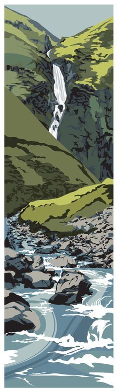 The Grey Mare's Tail, Dumfries & Galloway: Ian Mitchell. Art Graphique, Wood Engraving, Landscape Art, Landscape Architecture, Western Art, Woodblock Print, Illustrations Posters, Printmaking, Art Prints