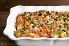 Ham and Asparagus Strata ~ Ham and asparagus strata, with rustic bread, egg, Gruyere cheese, milk, cream, ham, and asparagus ~ SimplyRecipes.com