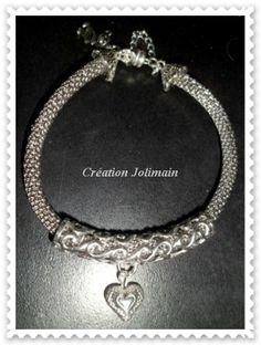 Bracelet Snake Mesh avec pendant...$25.00 sur Création Jolimain on Facebook   Vendu