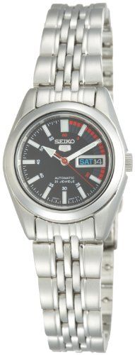 Seiko Womens SYMA43 Seiko 5 Automatic Black Dial Stainless Steel Watch >>> More info could be found at the image url.