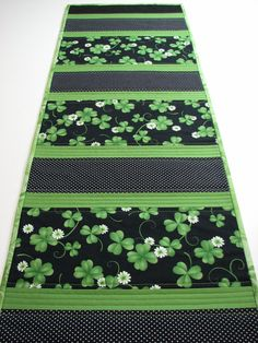 Quilted Table RunnerGreen Shamrocks and Black by VillageQuilts