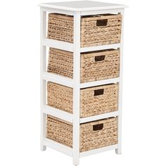 OSP Seabrook 4-Tier Storage Unit with Natural Baskets, White Finish