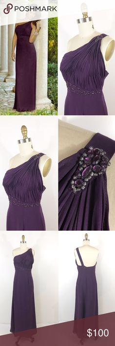 "Plum Purple Beaded One Shoulder Formal Dress Prom Gorgeous full length purple chiffon dress by Alexia designs. This is the 4070 dress. It has been professionally altered st the bust, strap and hem. The hem has been done for someone 5'4"" and the strap has been shortened to provide better support. 36"" bust. 57"" long. Very good condition, no flaws. Worn once. Alterations cost me $90 so you're getting a steal! alexia Dresses Prom"