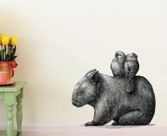 Wombat with Galahs 55cm x 49cm Wall Decal