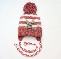 Baby Girls Hat, Mouse Hat, Knit Earflap Hat, Cute Baby Hat, Pom Pom Hat, Toddler Outfit,  White Pink Stripes,  Winter fashion, Animal Hat