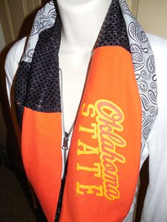 Oklahoma State University Cowboys Infinity Scarf by JerseyMagic, $25.00 If you'd like to see more of my work, please like my facebook page: www.facebook.com/jerseymagicquilts or follow me on instagram jersey_magic.