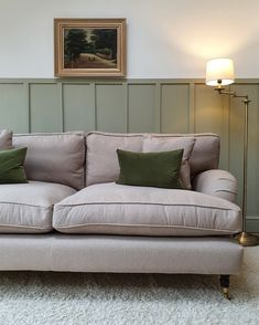 With this beautiful olive wainscoting and complementing forest green scatter cushions, our customer Sylvie has styled her bespoke Alwinton sofa to perfection. How would you style the Alwinton in your home? Discover the British handmade Alwinton sofa today with 15% off T&Cs apply #sofasandstuff #sofa #sofas #handmade #britishsofa #handmadesofa #bespokesofa #periodhome #olivegreen #wainscot #wainscoting #wallpanelling #wallpanels #livingroominterior #livingroominspiration #livingroomideas Sofa Inspiration, Living Room Inspiration, Bed Mattress, Sofa Bed, Neutral Sofa, Traditional Sofa, Comfortable Sofa, Scatter Cushions, Corner Sofa